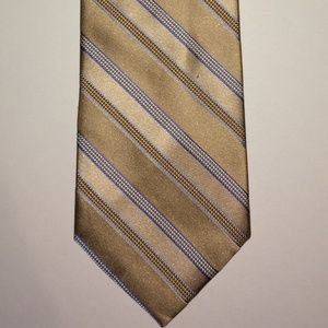 Michael Kors Tie | Cream & Gold Stripes